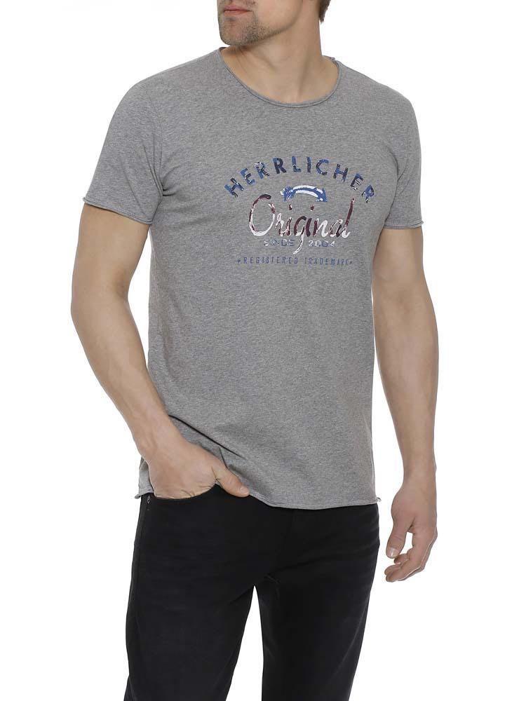 Herrlicher Base Jersey T-Shirt mit Statement Print