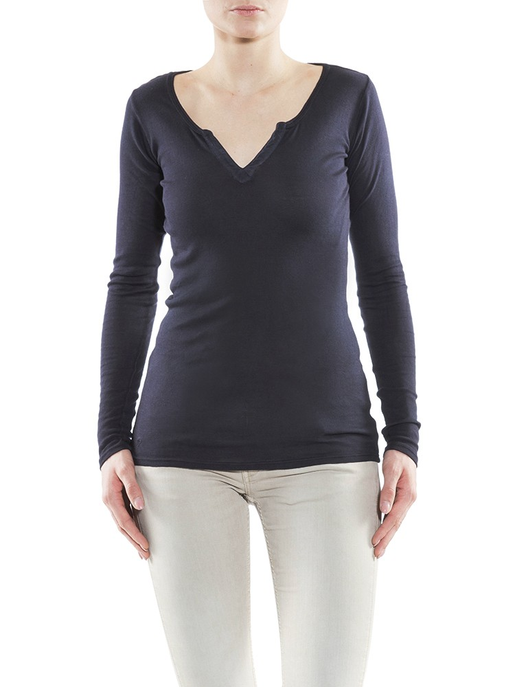 Safia Long Micro Rib Shirt dunkelblau