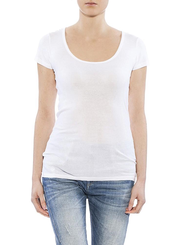 Herrlicher Kandeen Micro Rib T-Shirt weiß vorne