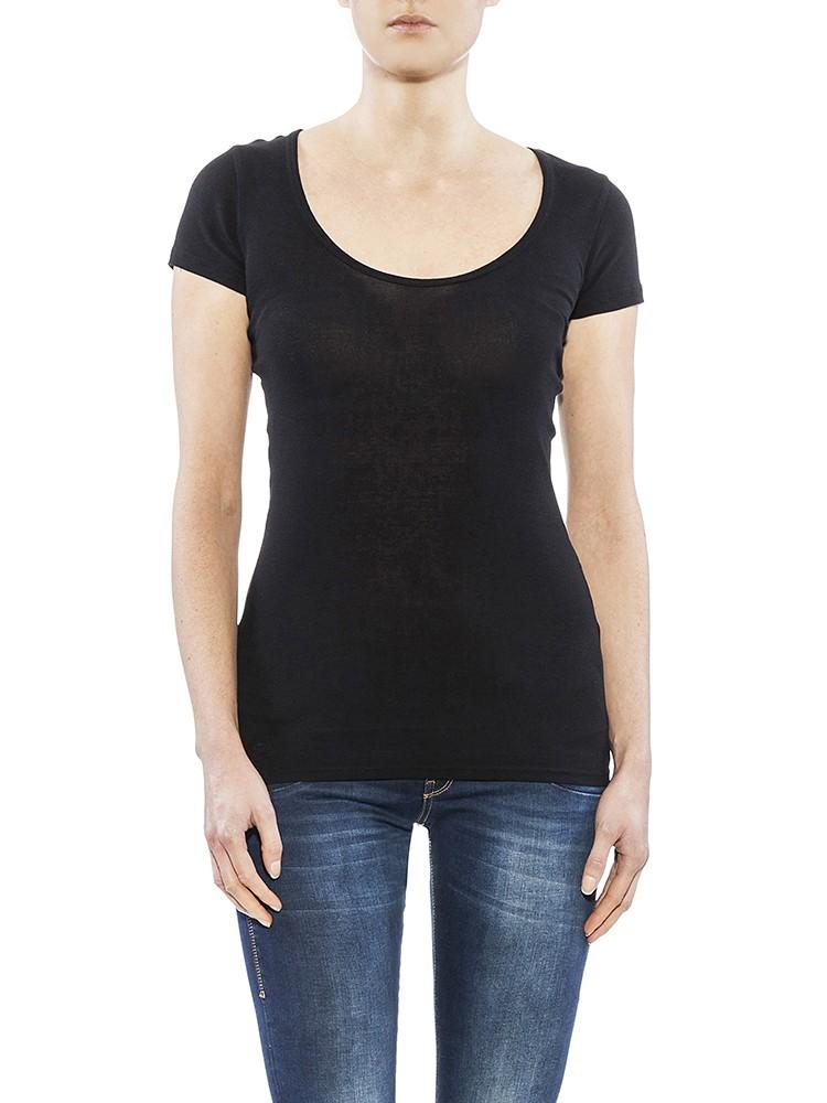 Herrlicher Kandeen Micro Rib T-Shirt schwarz vorne