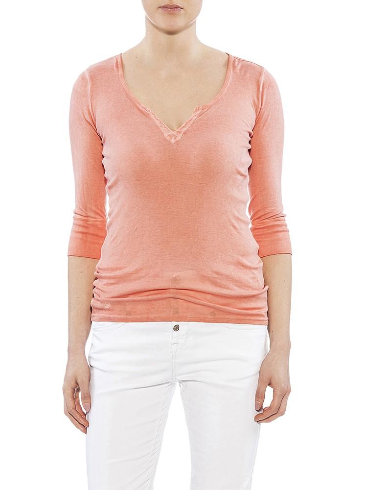 Herrlicher Safia Micro Rib Shirt apricot vorne