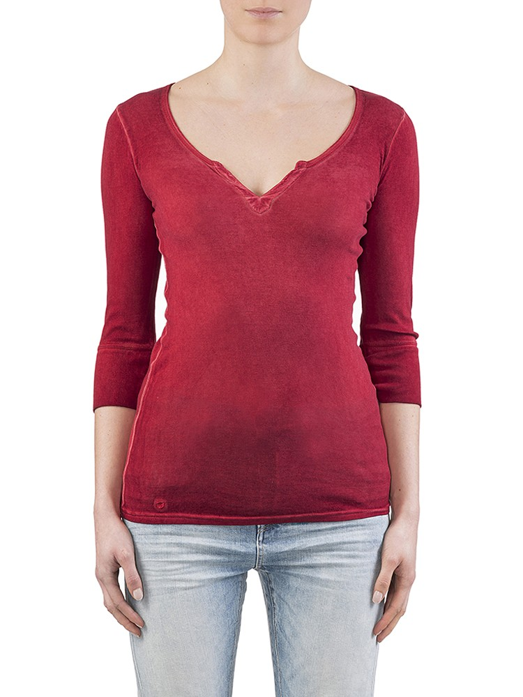 Herrlicher Safia Micro Rib Shirt rot
