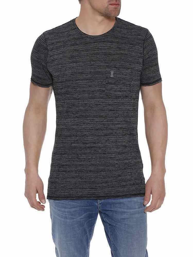 Herrlicher Ronny T-Shirt meliert mit Brusttasche
