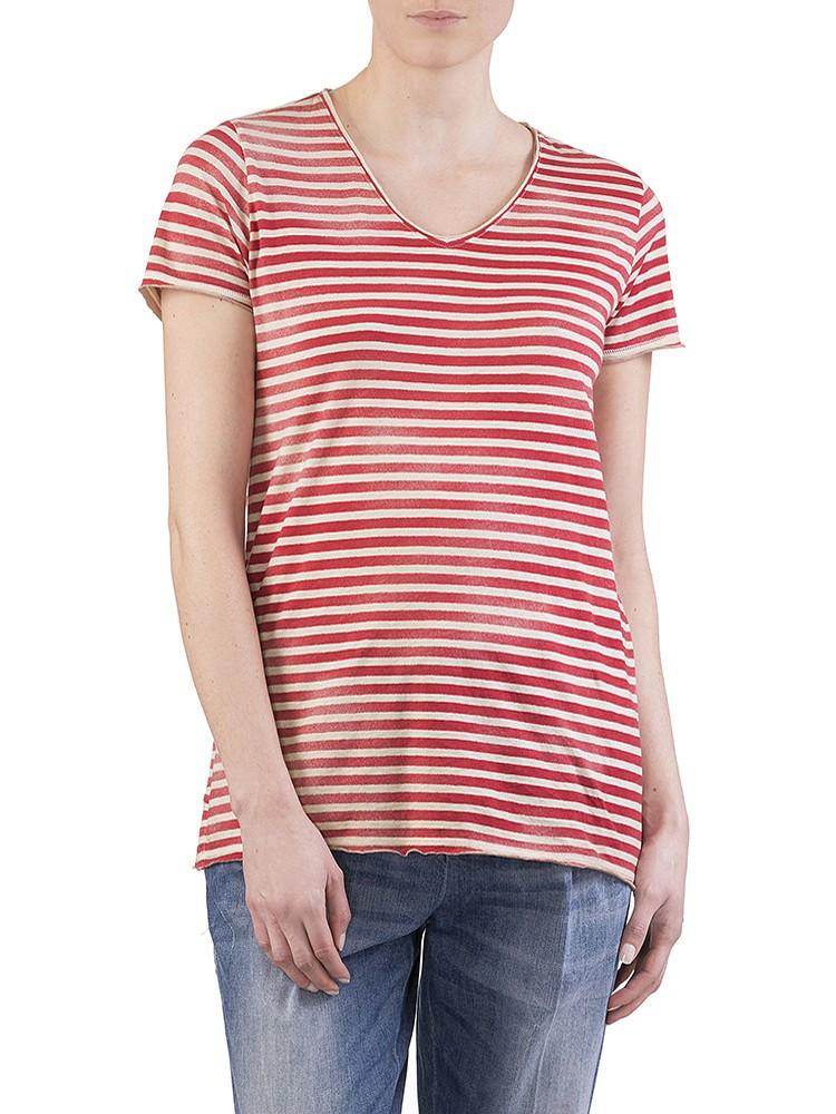 Herrlicher Luana striped Jersey T-Shirt rot sale