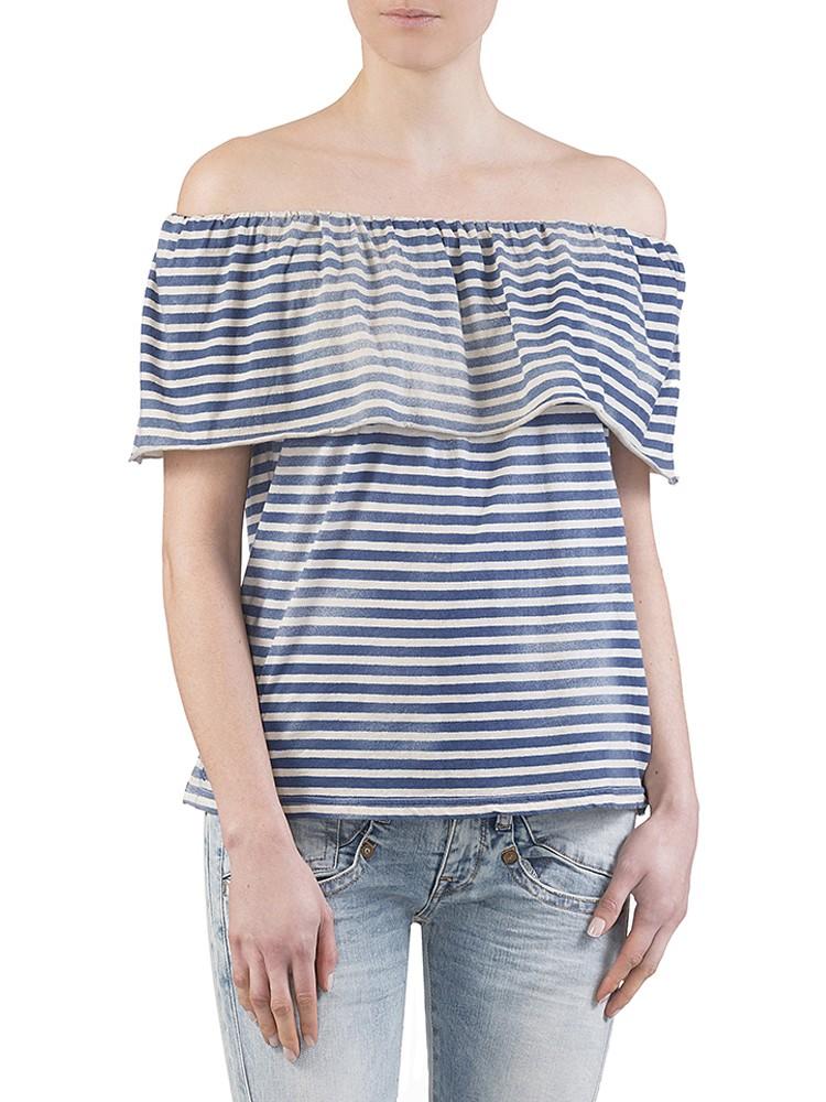 Herrlicher Cella striped Jersey Top blau vorne