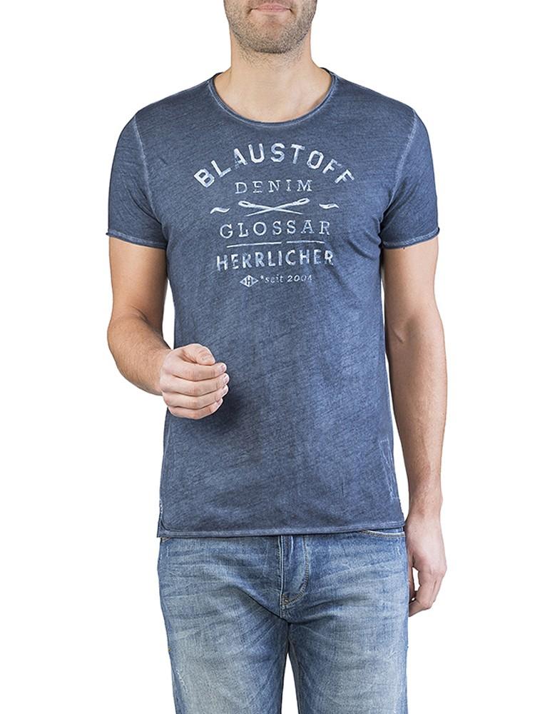 Herrlicher Benny Jersey T-Shirt blau vorne