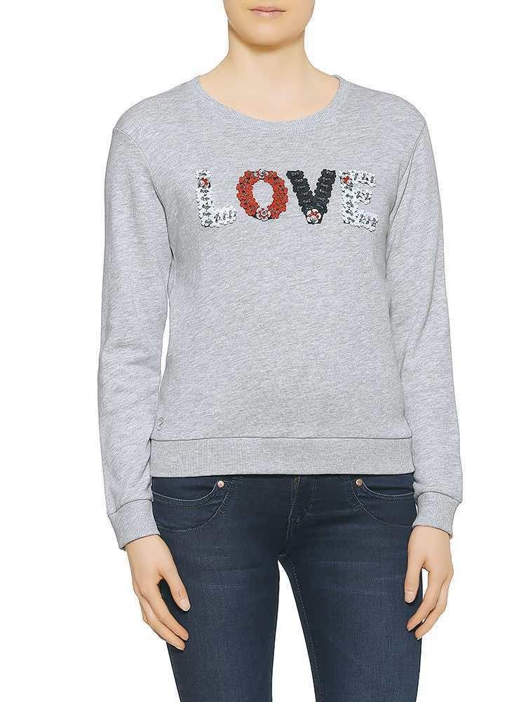 Herrlicher Anetta Sweat Glitzer Sweatshirt mit Pailletten grau vorne