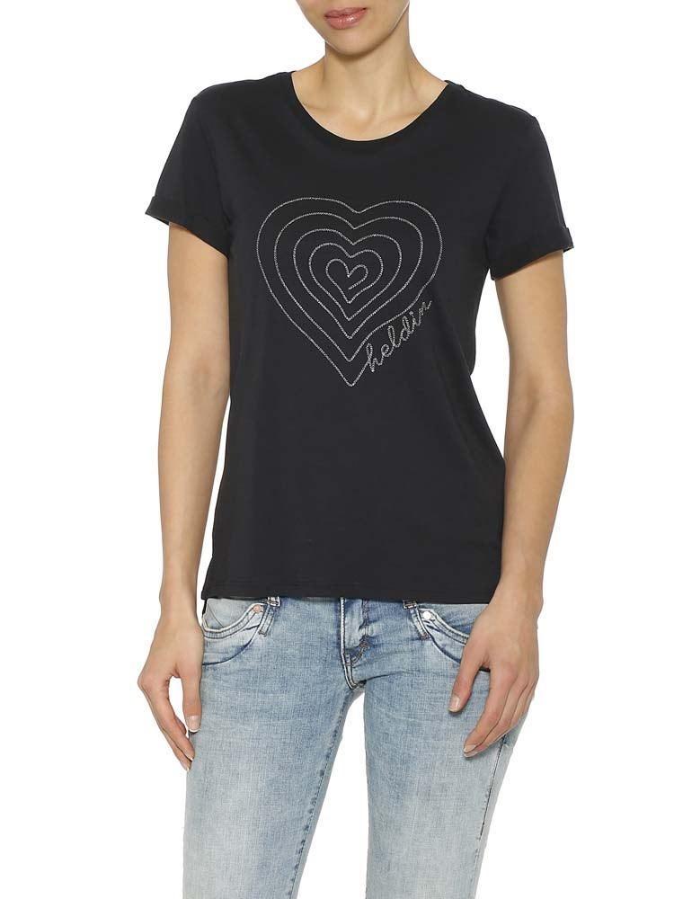 Herrlicher Kendall Jersey T-Shirt mit Herz-Stickerei