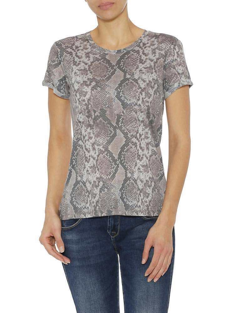 Herrlicher Kendall Jersey T-Shirt mit Schlangenprint