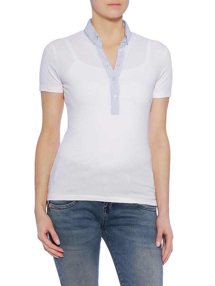 Lony Pique Damen Shirt, weiß vorne