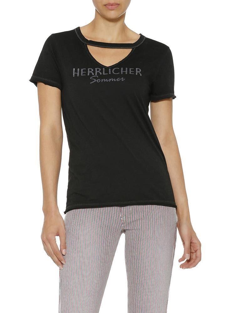 Herrlicher Belynda Jersey T-Shirt mit Cut-Out