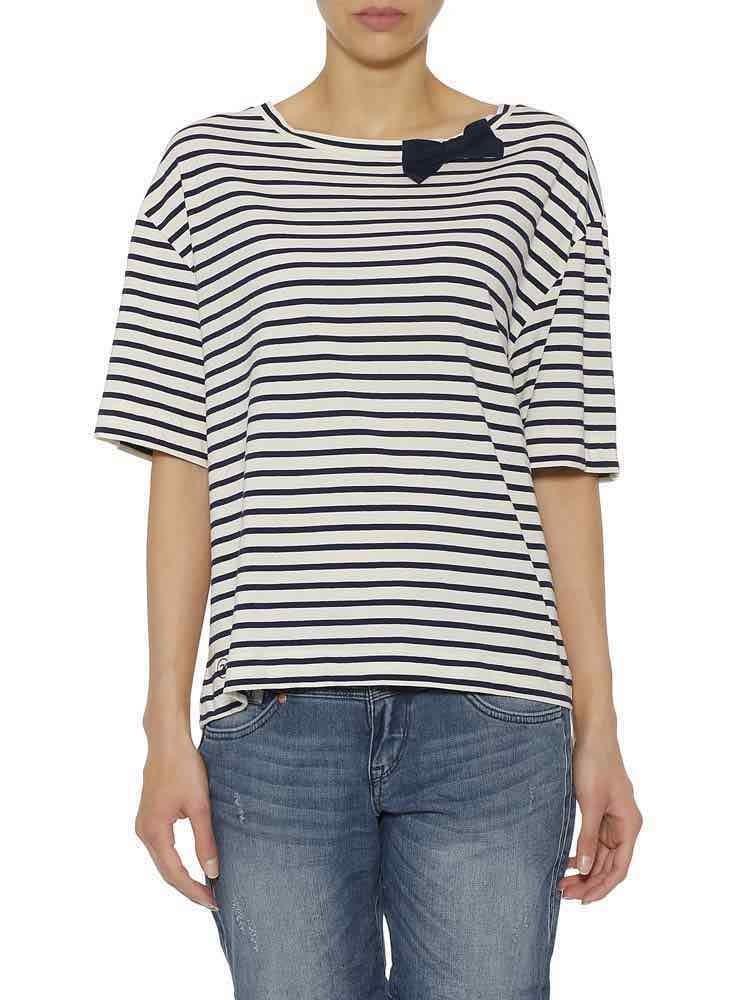 Herrlicher Banita Jersey T-Shirt gestreift mit Schleife