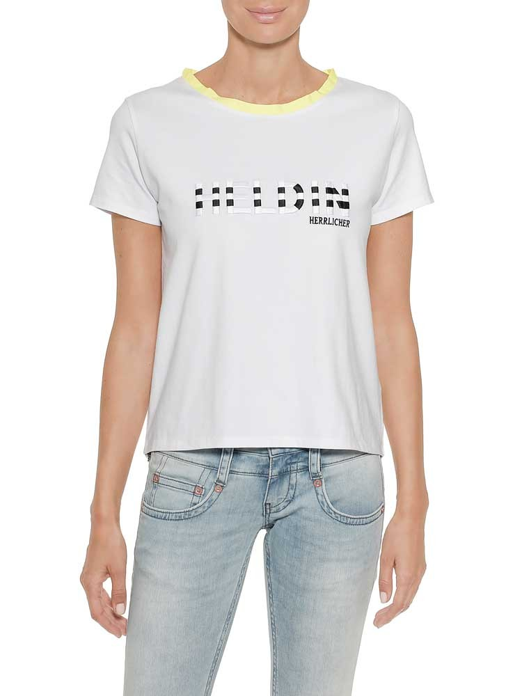Herrlicher Esta Jersey T-Shirt mit Stickerei und Neon-Details