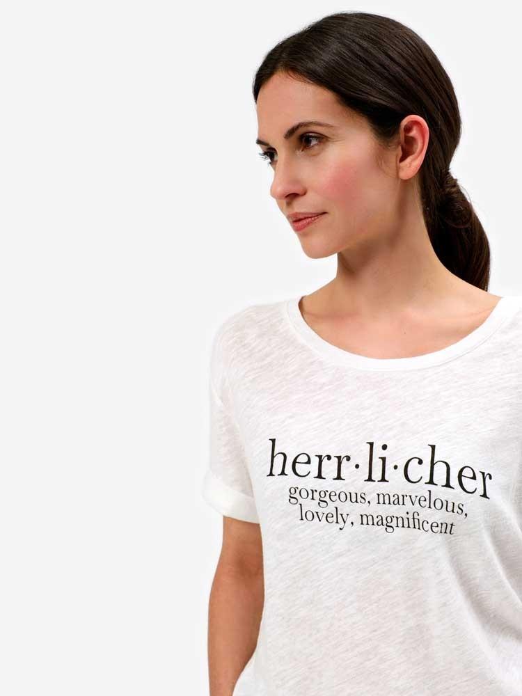 Herrlicher Romola Jersey T-Shirt aus Leinenmix