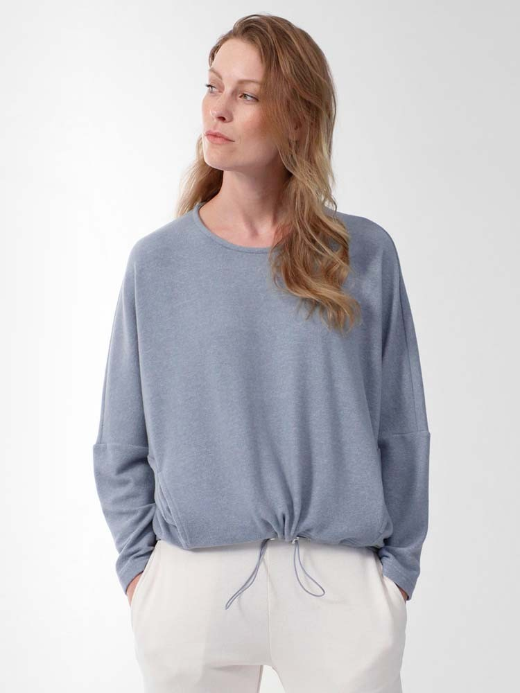 Herrlicher Madelyn Sweatshirt mit Gummizug blau