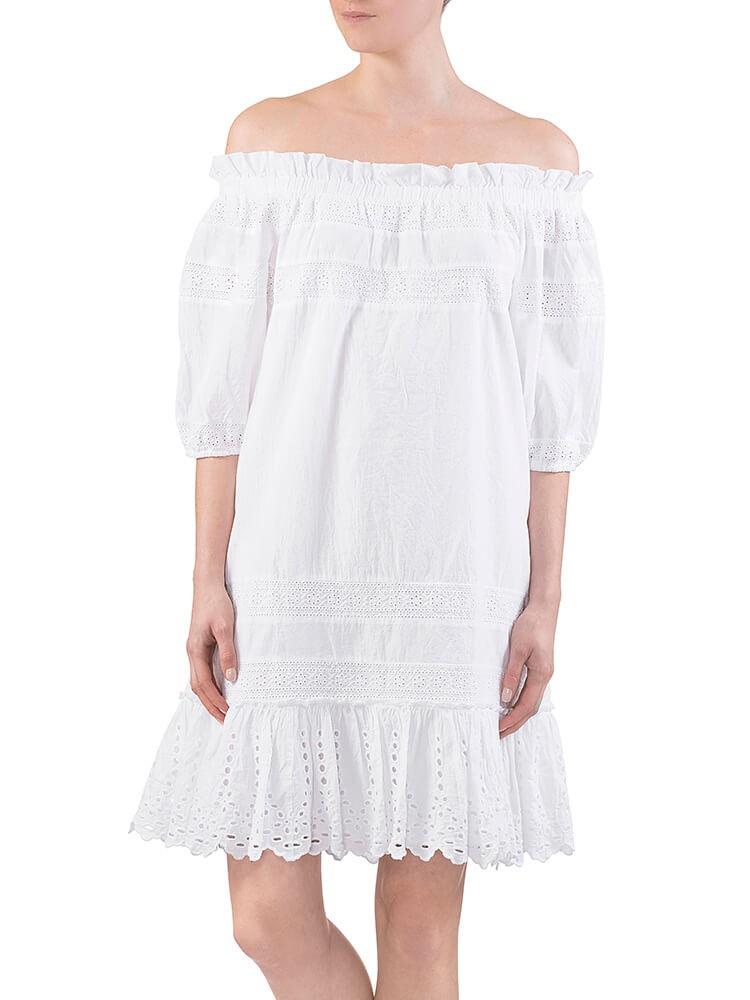 Herrlicher Jule Cotton Lace Mix Kleid weiß vorne