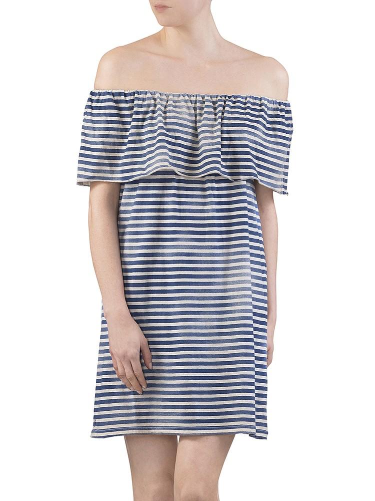 Herrlicher Yella striped Jersey Kleid blau vorne