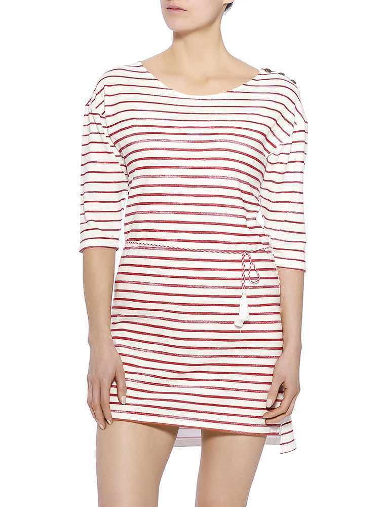 Martyna Sweat Striped Kleid, strawberry