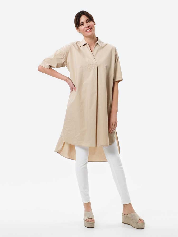 Herrlicher Claudine Oversize Hemdkleid mit kurzen Ärmeln