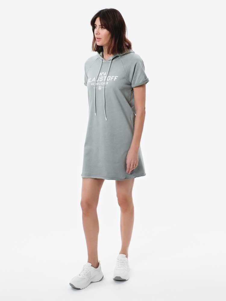 Herrlicher Anniston Hoodie-Kleid mit kurzen Ärmeln