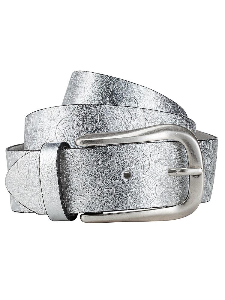 Herrlicher Finja embossed metalic Ledergürtel silber zusammengerollt