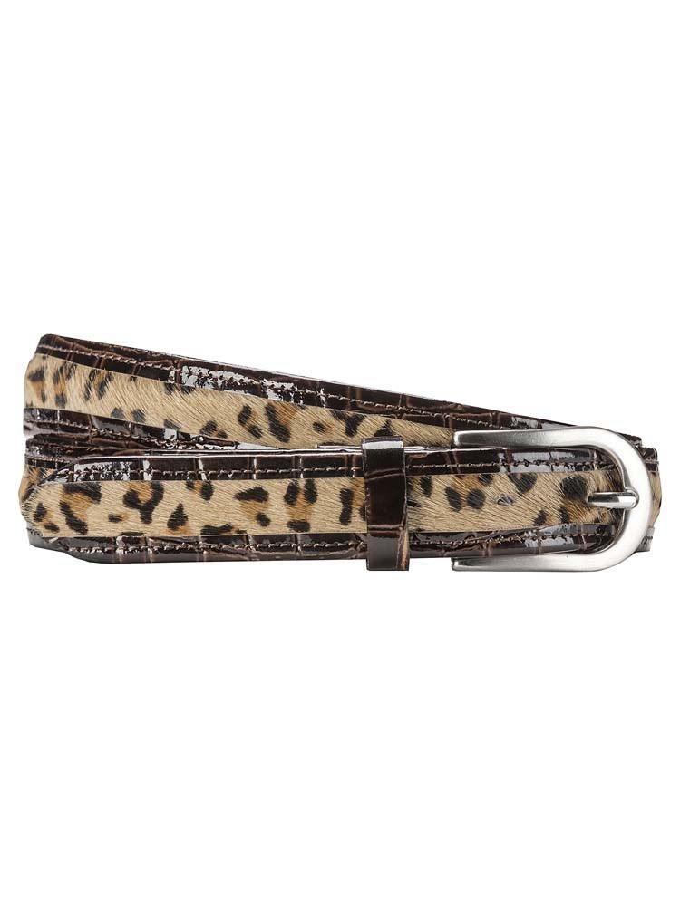 Herrlicher Fata Lackledergürtel mit Leopardenfell