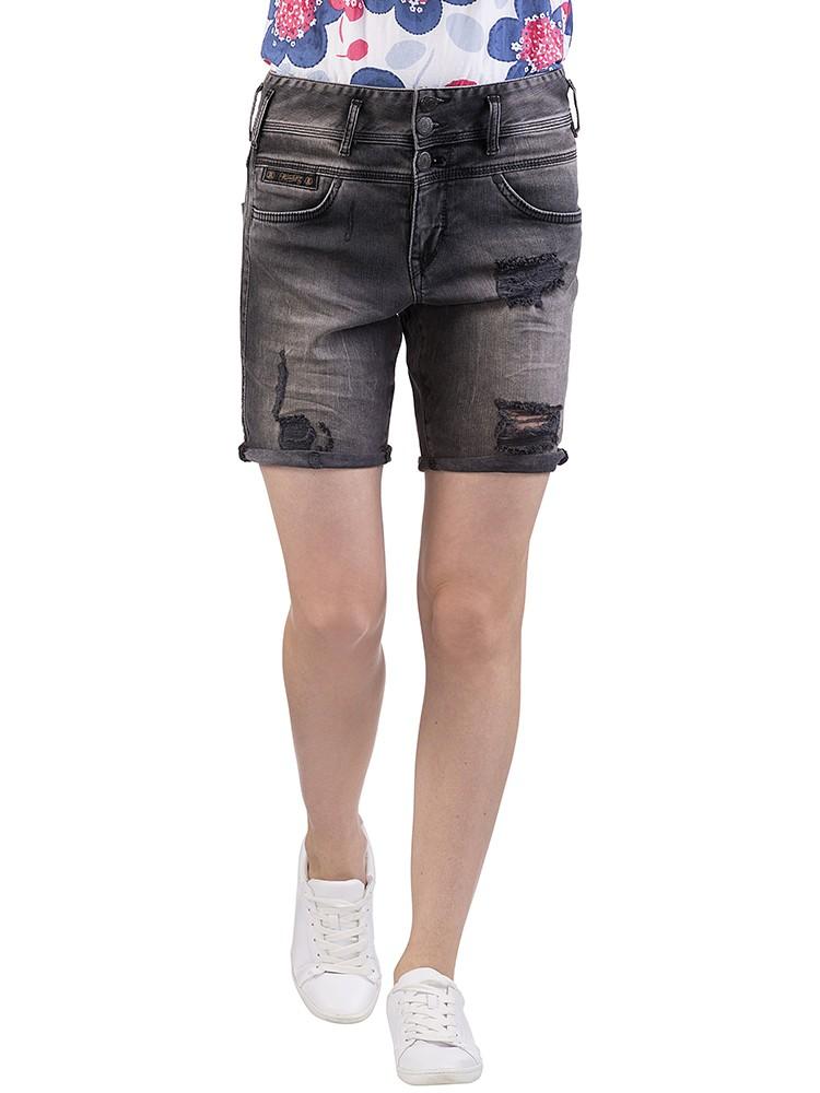 Herrlicher Raya Short Denim Black Stretch Jeans grau vorne