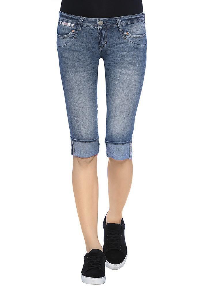 Herrlicher Piper Short Denim Stretch Jeans blau vorne