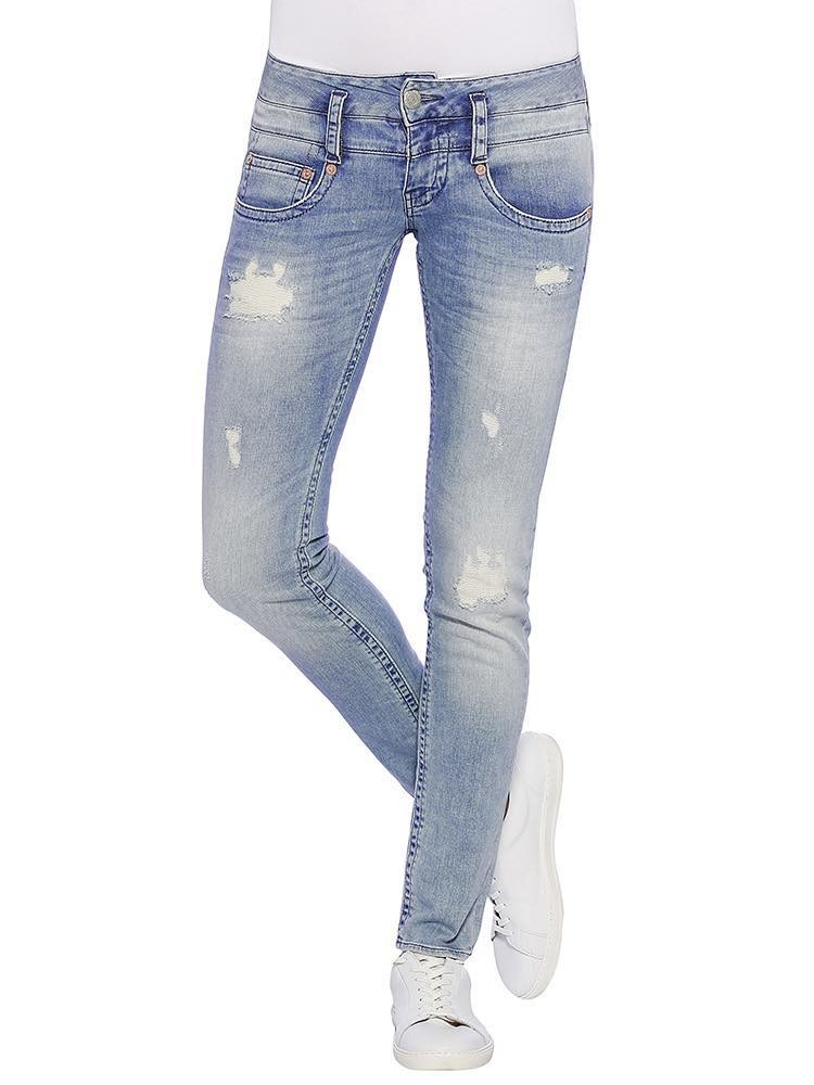 Herrlicher Pitch Slim Denim Stretch Jeans destroyed vorne