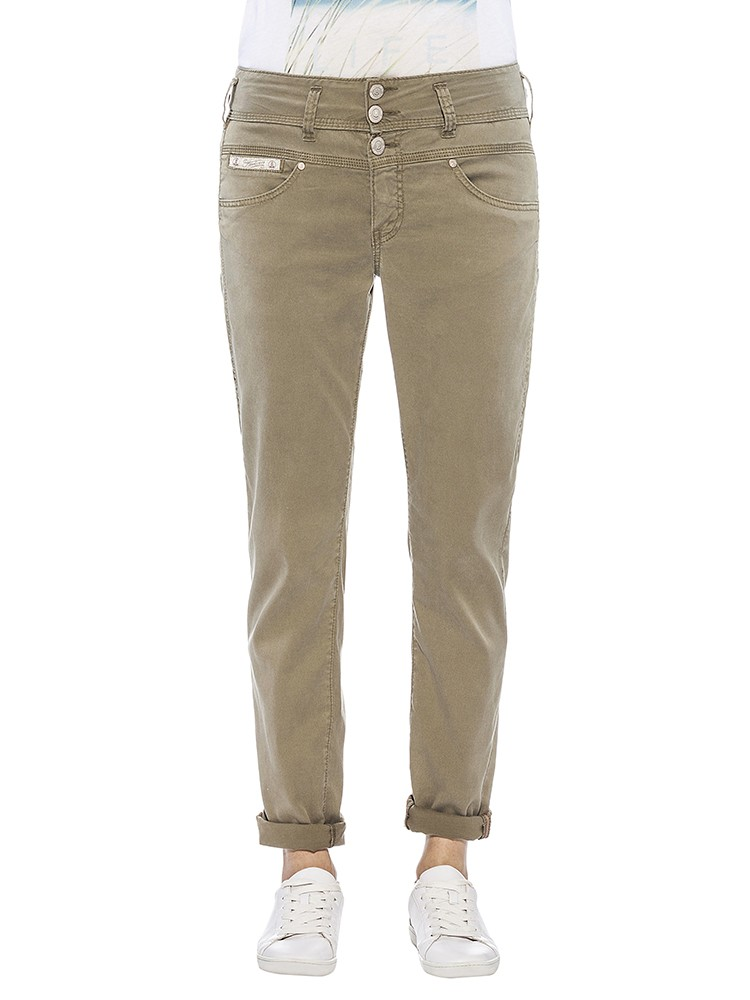 Herrlicher Raya Gabardine Stretch Jeans grün vorne