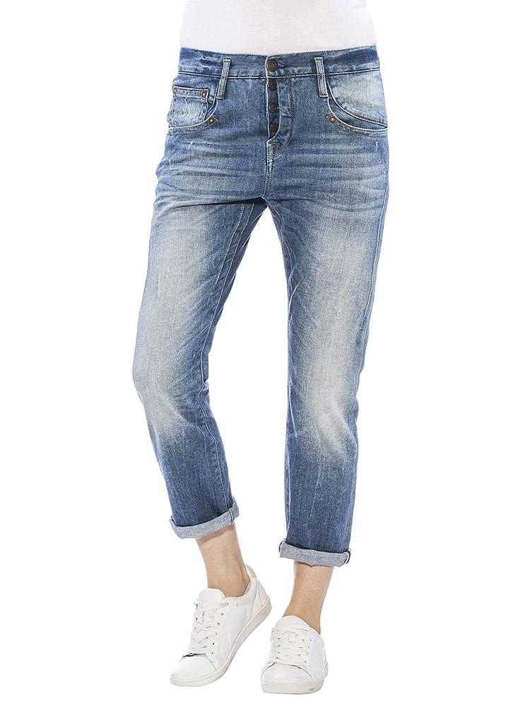 Herrlicher Shyra Cropped Denim Stretch Jeans blau vorne