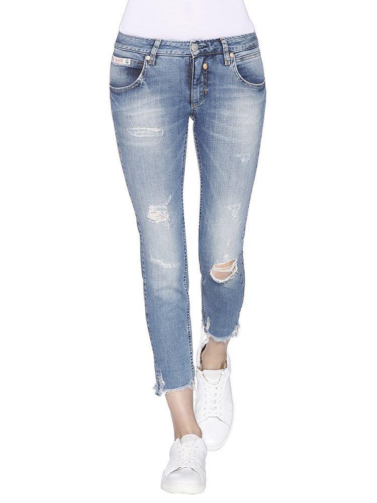 Herrlicher Touch Cropped Denim Powerstretch Jeans vorne