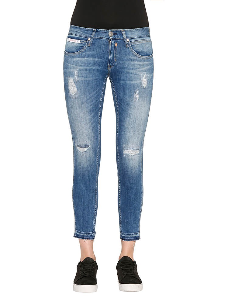 Touch Cropped Denim Powerstretch Jeans hellblau distressed vorne