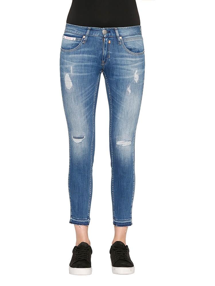 Touch Cropped Denim Powerstretch Jeans hellblau distressed vorne