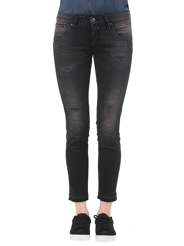 Herrlicher Touch Cropped Denim Black Stretch Jeans