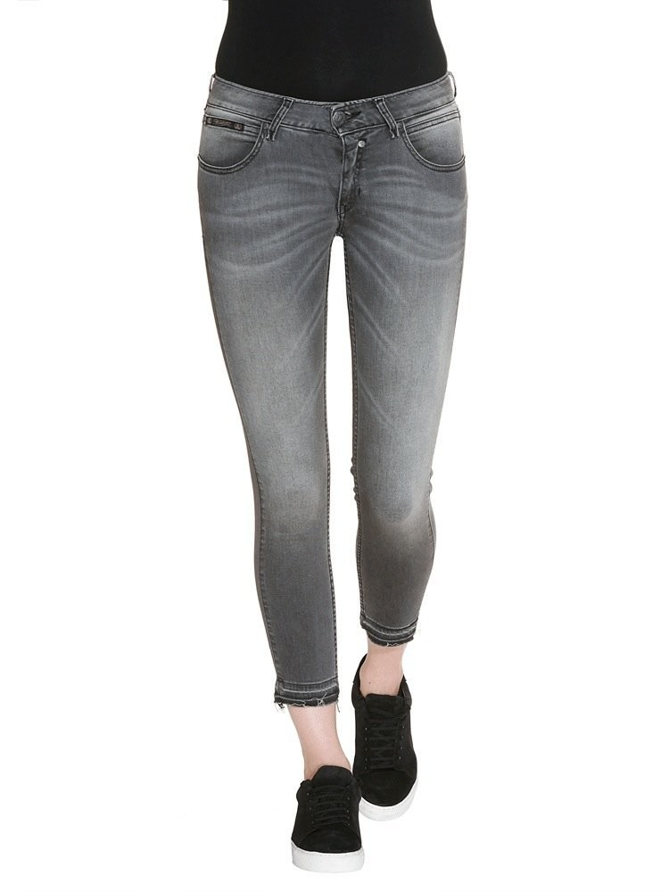 Herrlicher Touch Cropped Denim Black Stretch Jeans mittelgrau