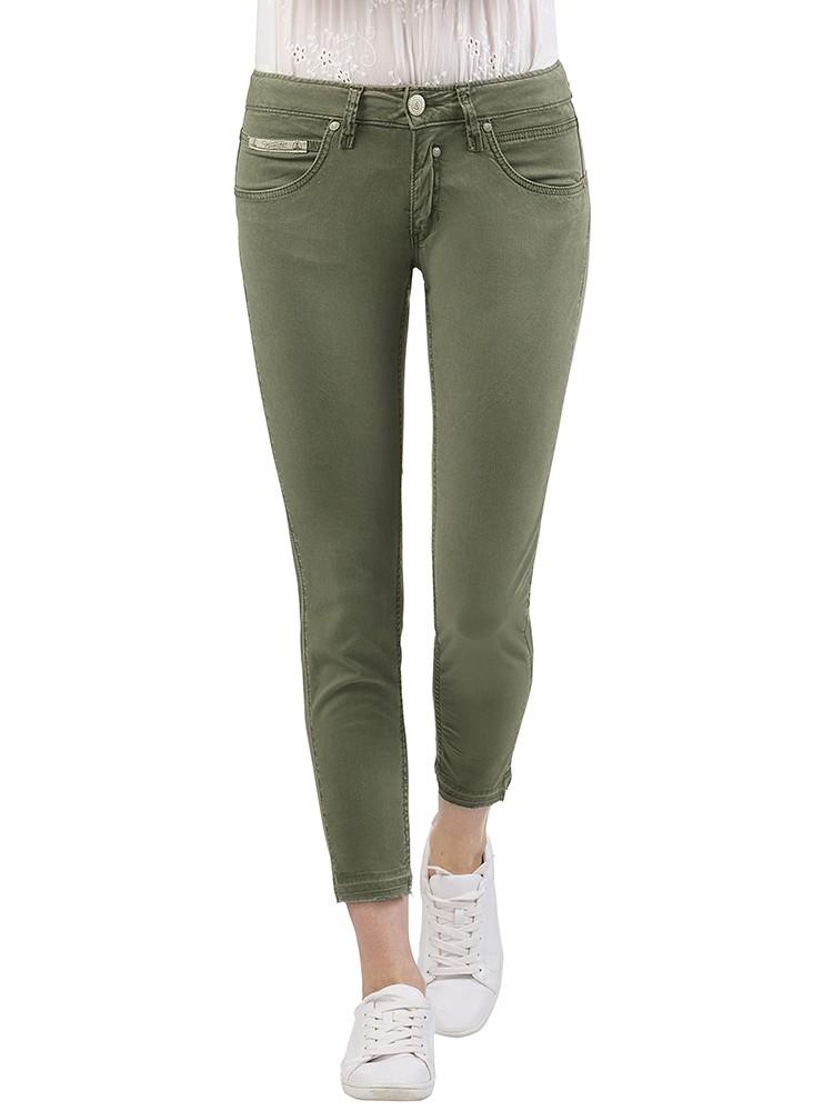 Herrlicher Touch Cropped Gabardine Stretch Hose grün vorne