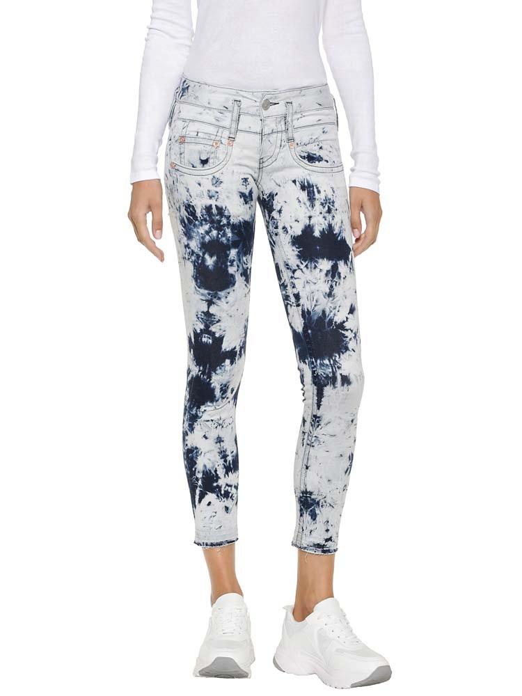 Herrlicher Pitch Slim Cropped Jeans im Batik-Look