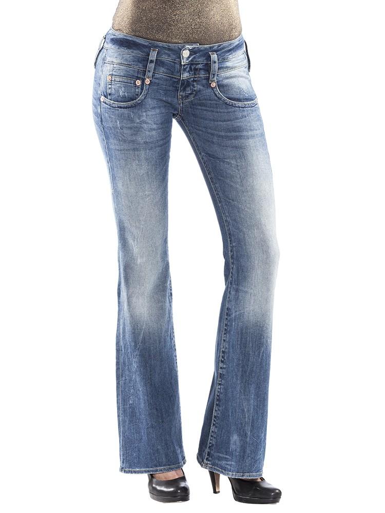 Herrlicher Pitch Flare Denim Stretch Jeans blau vorne