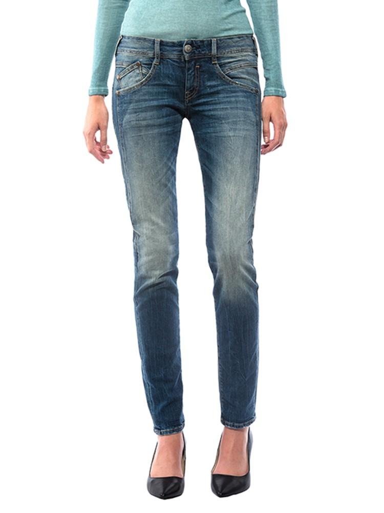 Herrlicher Gila Slim Denim Comfort + Jeans blau vorne