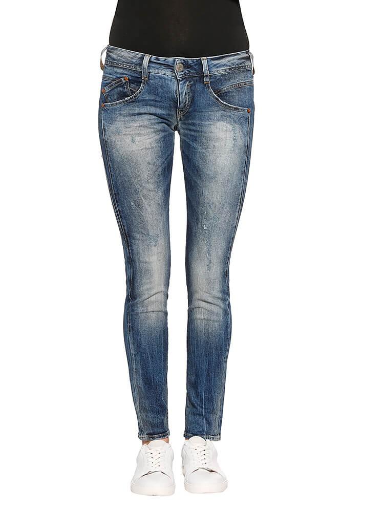 Herrlicher Gila Slim Denim Comfort + Jeans dunkelblau vorne