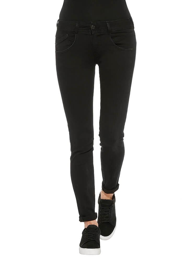 Herrlicher Gila Slim Denim Black Stretch Jeans schwarz vorne