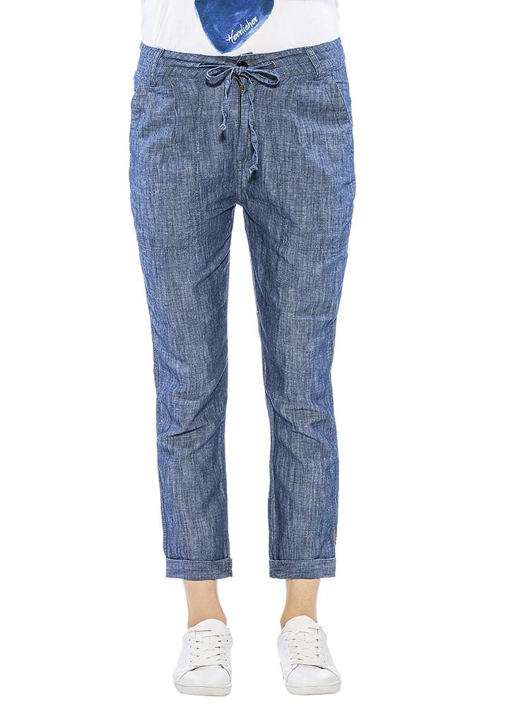 Herrlicher Keana Baumwoll-Leinen Hose im Denimlook blau vorne