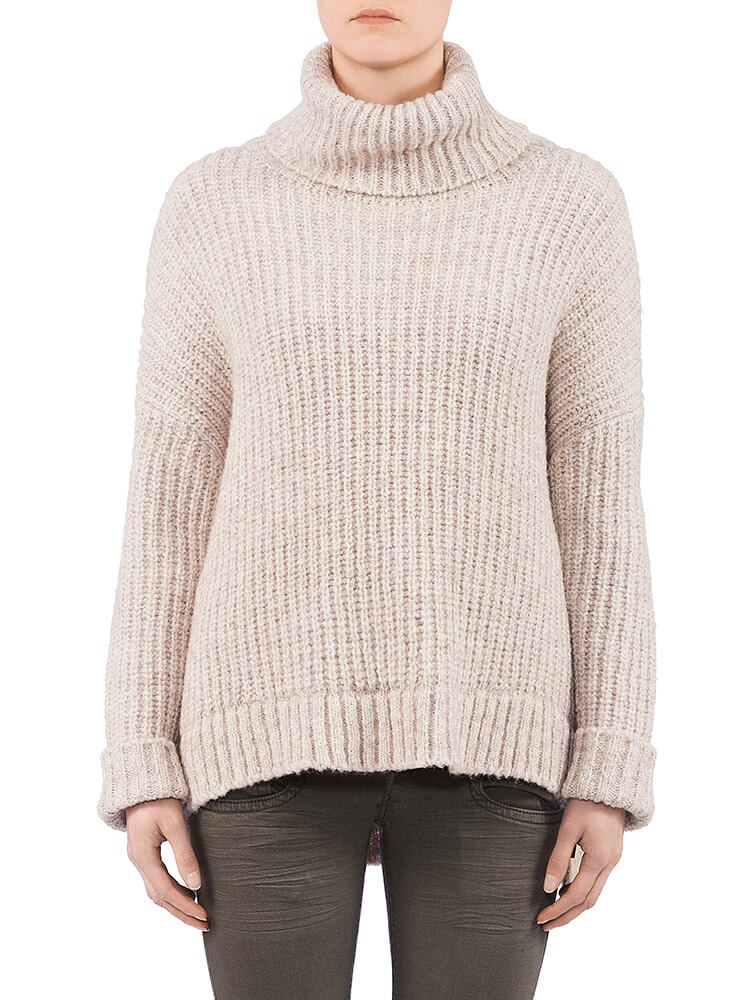 Herrlicher Anika Wool Mix Pullover hellbeige vorne