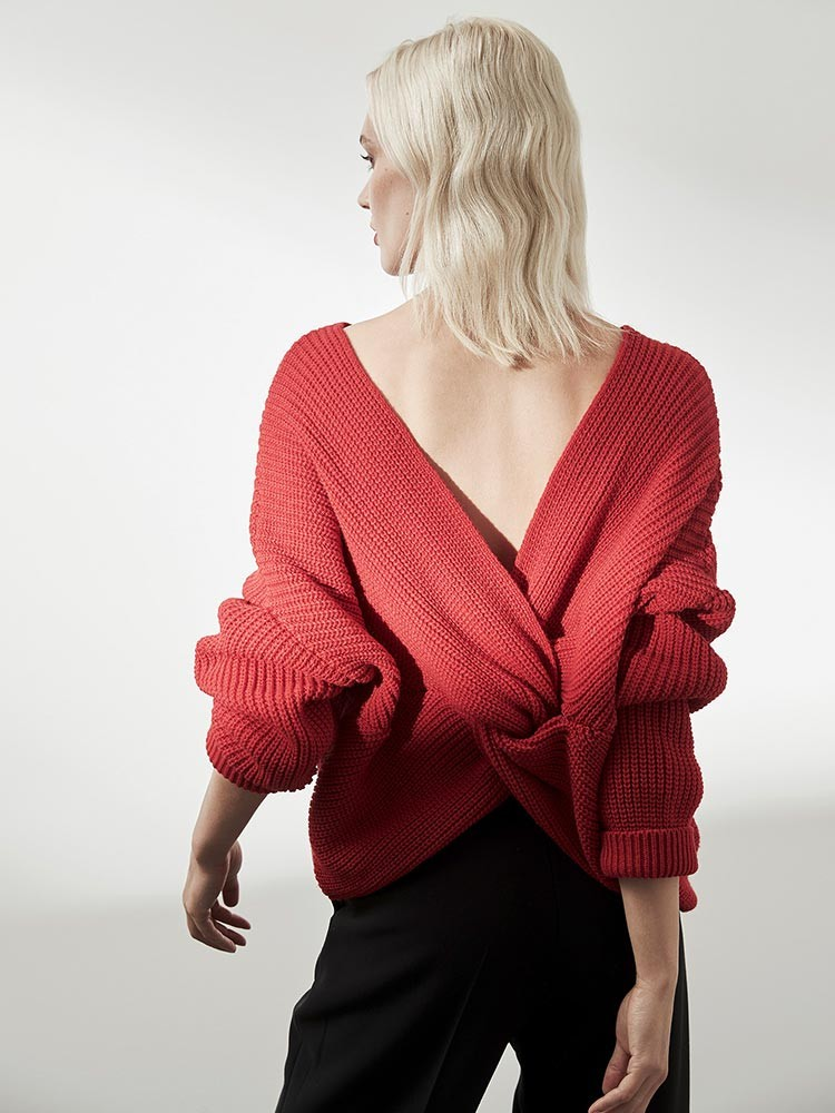 Herrlicher Hanja Woll-Mix Pullover mit Knotendetail