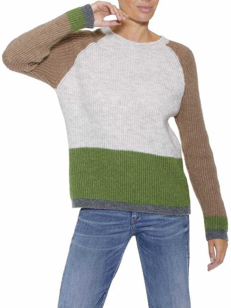 Herrlicher Anna-Lyn Wollmix-Pullover mit Colour-Blocking