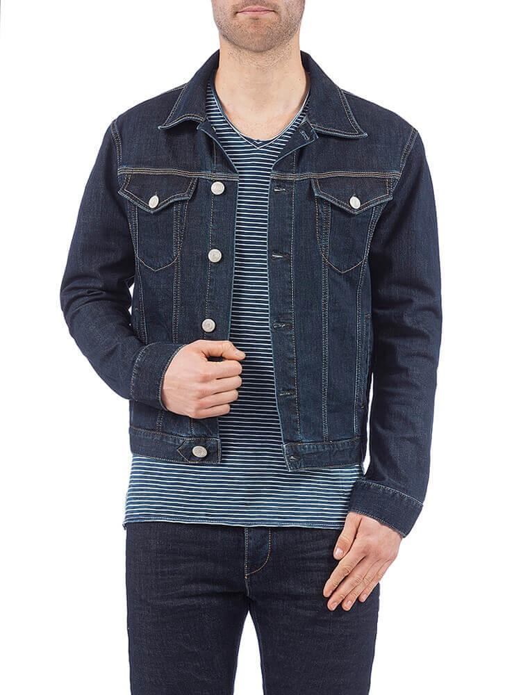 Herrlicher Andy Denim Stretch Jeansjacke dunkelblau vorne