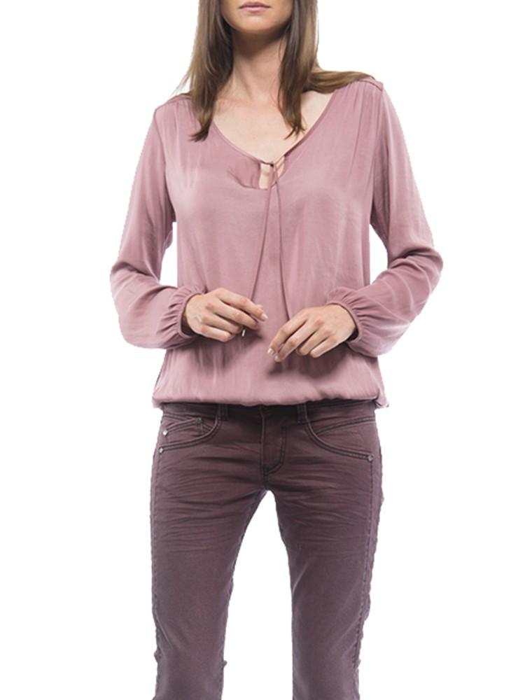 Herrlicher Leana Satin Bluse rosa vorne