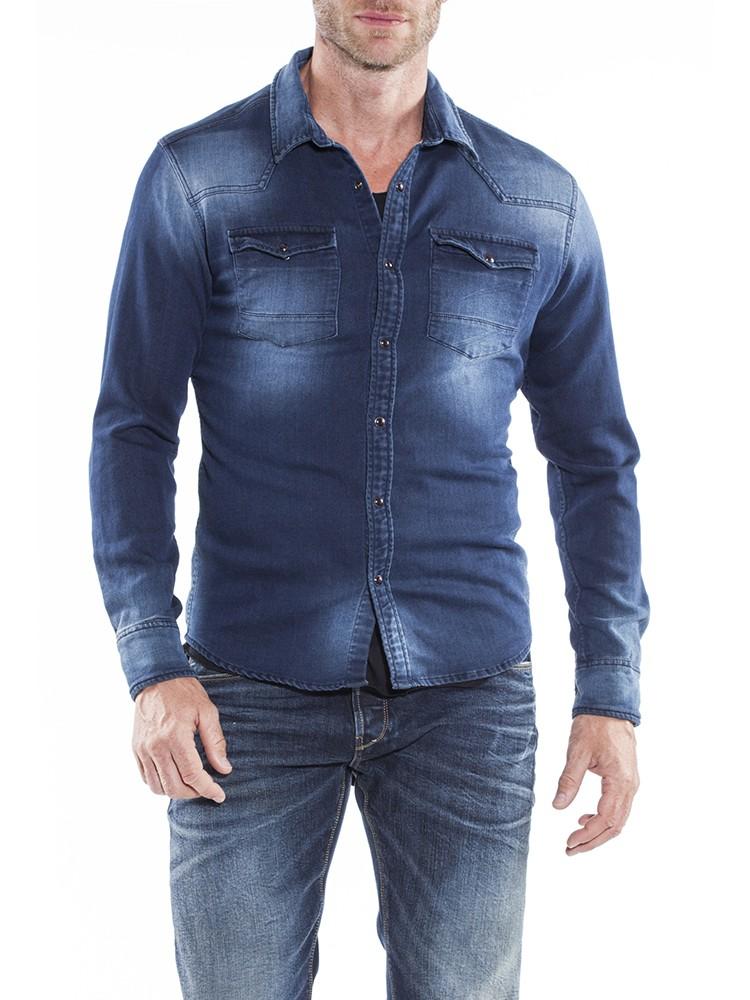 Herrlicher Clint Denim Jersey Hemd blau vorne