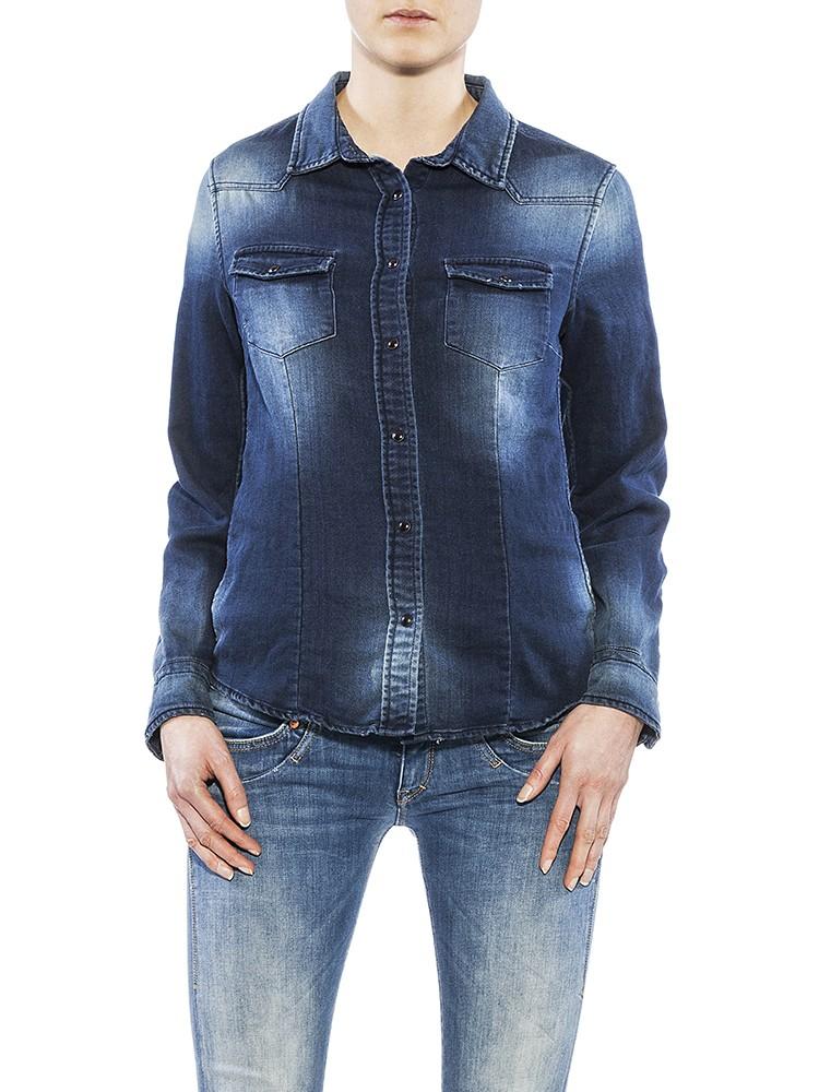 Herrlicher Lilien Denim Jersey Hemd dunkelblau vorne